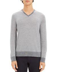 a87b9602 Theory - Rothley Merino Wool V - Neck Sweater - Lyst