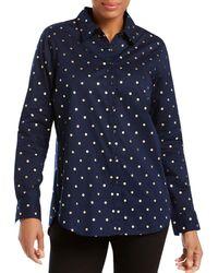 Foxcroft - Zoey Foil Dot Button-down Shirt - Lyst