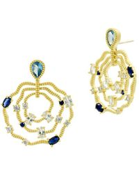 Freida Rothman - Imperial Blue Triple Layer Wavy Earrings In 14k Gold-plated Sterling Silver - Lyst