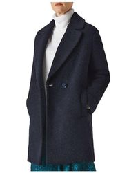 Whistles Bouclé Coat - Blue