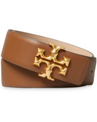 Tory Burch Eleanor Logo Leather Belt - Brown