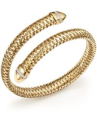 Roberto Coin | 18k Yellow And White Gold Primavera Flex Cuff Bracelet With Diamonds | Lyst