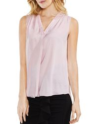 Vince Camuto Shirred High/low Tank - Pink