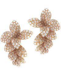 Pasquale Bruni 18k Rose Gold Stelle In Fiore White & Champagne Diamond Drop Earrings - Metallic