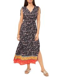 Vince Camuto Floral Print Maxi Dress - Black