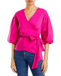MILLY Paulina Poplin Wrap Top - Pink
