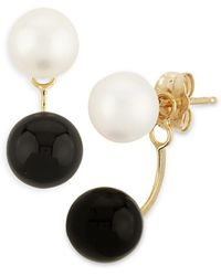 Bloomingdale's - Onyx & Cultured Freshwater Pearl Front - To - Back Drop Earrings In 14k Yellow Gold - Lyst