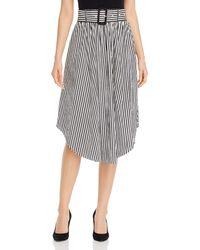 T Tahari Belted Striped Midi Skirt - Black