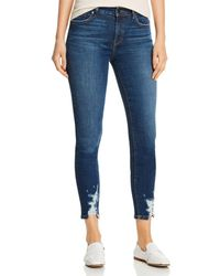Level 99 Madison Distressed Cropped Jeans In Phase - Blue