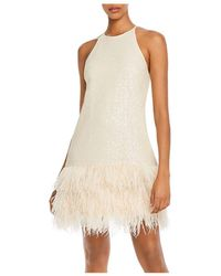 Lucy Paris Margo Faux - Feather Trim Sequined Dress - White