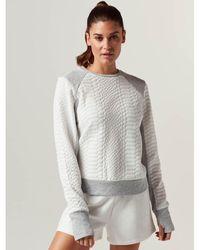 BLANC NOIR Croc Textured Knit Sweatshirt - White