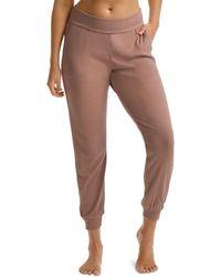 Commando Luxury Rib Jogger Trousers - Brown
