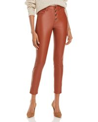 Blank NYC Button - Front Faux - Leather Skinny Trousers - Multicolour