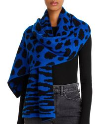 Aqua Mixed Animal Print Cashmere Scarf - Blue