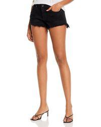Pistola Gigi Low - Rise Cutoff Denim Shorts In Black In Oxford
