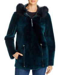 Maximilian Reversible Lamb Shearling & Fox Fur Trim Hooded Jacket - Green