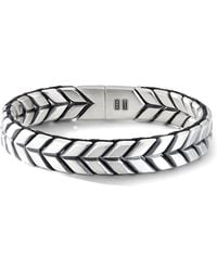 David Yurman Sterling Silver Chevron Woven Bracelet - Metallic