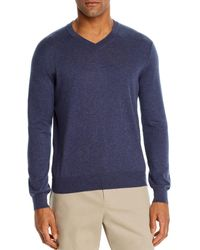 Bloomingdale's V - Neck Cotton - Cashmere Sweater - Blue