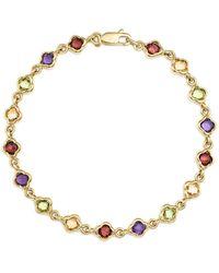 Bloomingdale's Multi Gemstone Small Clover Bracelet In 14k Yellow Gold - Metallic