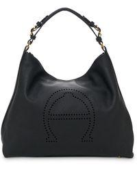 Etienne Aigner Stella Large Leather Hobo - Black