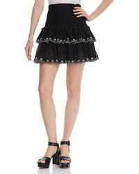 Aqua - Smocked Embroidered Mini Skirt - Lyst