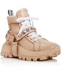 Miu Miu Women's Monstar Crystal Embellished Hiking Boots - Multicolour