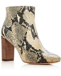 Pour La Victoire | Women's Rickie Snake Embossed Leather High Heel Booties | Lyst