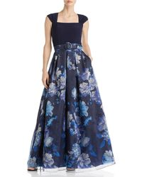 Eliza J Floral Organza Ball Gown - Blue