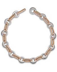 Bloomingdale's Diamond Circle Link Bracelet In 14k Rose And White Gold - Metallic