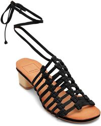 Dolce Vita Women's Leather Ankle Tie Low Heel Sandals ydmos