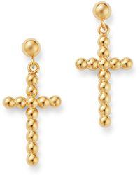 Bloomingdale's - Beaded Cross Drop Earrings In 14k Yellow Gold - Lyst