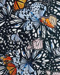 Aqua X Mary Katrantzou Butterfly Print Maxi Dress - Black