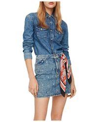 Maje Faded Jean Shirt - Blue