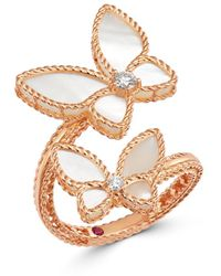 Roberto Coin 18k Rose Gold Mother - Of - Pearl & Diamond Butterfly Ring - Metallic