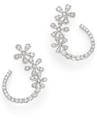 Bloomingdale's Diamond Flower Front - To - Back Earrings In 14k White Gold