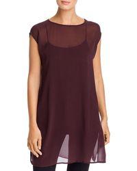 Eileen Fisher Sheer Cap - Sleeve Tunic - Purple