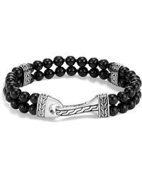 John Hardy - Sterling Silver Classic Chain Two-row Black Onyx Bead Bracelet - Lyst