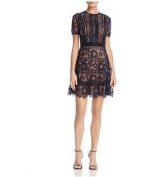 Aqua - Ruffled Lace Dress - Lyst