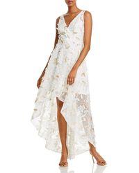 Aqua Floral - Appliqué High - Low Gown - White