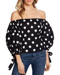 Cece Off-the-shoulder Dot-print Puff Top - Black