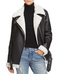 Aqua - Faux-shearling Moto Jacket - Lyst