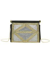 Alberta Ferretti Embellished Satin Evening Bag - Black