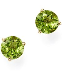Bloomingdale's - Peridot Stud Earrings In 14k Yellow Gold - Lyst
