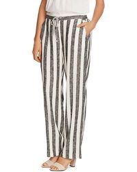Vince Camuto Striped Drawstring Trousers - Black