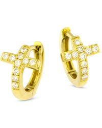Bloomingdale's Diamond Cross Huggie Hoop Earrings In 14k Yellow Gold - Metallic