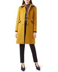 Hobbs - Celia Velvet-trim Coat - Lyst