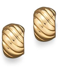 Roberto Coin | 18k Yellow Gold Ribbed Earrings | Lyst