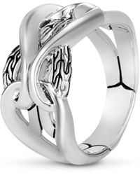 John Hardy Sterling Silver Classic Chain Interlocking Link Ring - Metallic