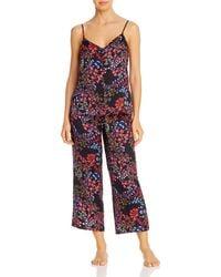 Josie Floral Print Satin Cropped Pyjama Set - Black
