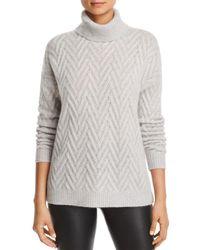 C By Bloomingdale's Herringbone Cashmere Turtleneck Sweater - Gray